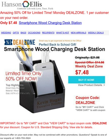 Hi Mary - 50% Off Monday DealZone! - WOW! $7.48 Smartphone Wood Charging Desk Accessory Compartment Station at HansonEllis.com