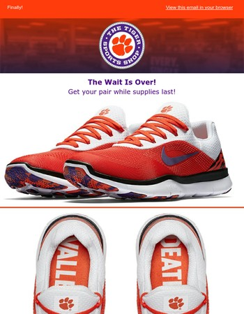 Get your pair of Clemson Tiger's Nikes Now!