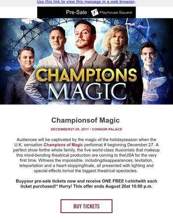 SPECIAL PRE-SALE AND FREE T-SHIRT OFFER: Champions of Magic