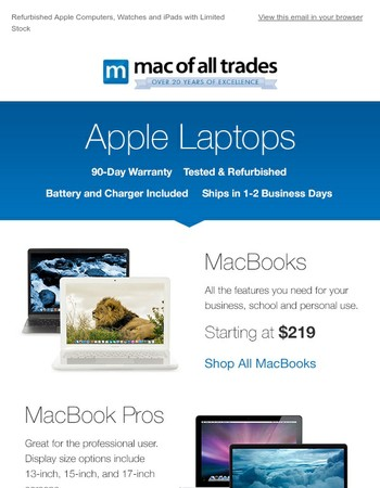 Refurbished Apple Computers, Watches and iPads with Limited Stock