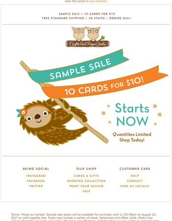 SAMPLE SALE! 10 cards for $10. Starts now.