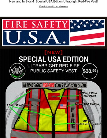 New and In Stock!  Fire Ninja Special USA Edition Ultrabright Red-Fire Public Safety Vest!