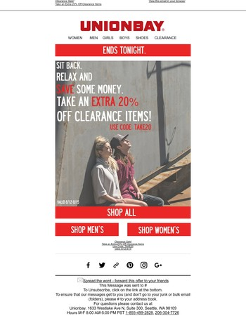 Extra 20% Off Clearance Ends Tonight!