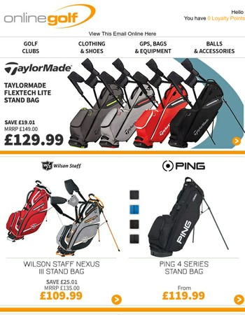 Golf Bags from £54.99 + Great Deals on Trolleys