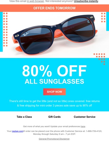 RAY-BAN--Limited time only: Final Hours! 80% Off Your Purchase