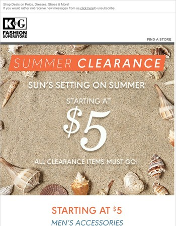 Get it Before It's Gone! Summer Clearance Starting at Just $5