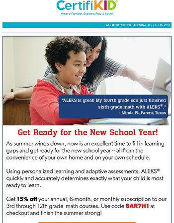 Get An Early Start in Math: Save NOW to Help Them Excel Later!
