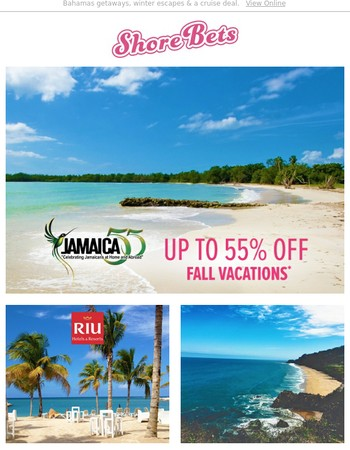 Up to 55% off your fall vacations!