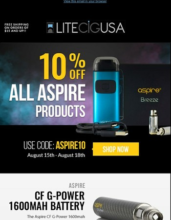 Save 10% on All Aspire Products!