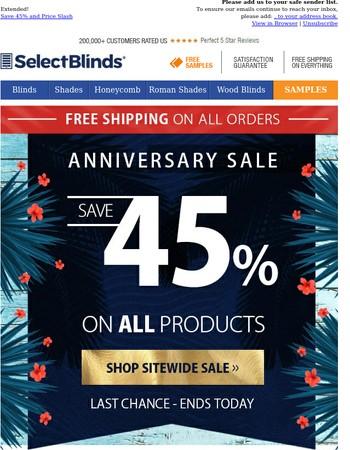 Bonus Day to Save 45% on All! Wood Blinds Slash