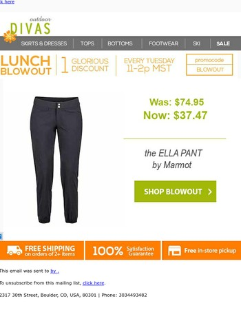 Lunch Blowout | 50% off the Ella Pant by Marmot