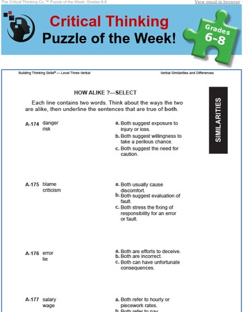 Critical Thinking Puzzle of the Week - Grades 6-8