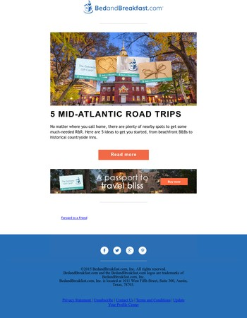 Mid-Atlantic Road Trips Perfect for the Getaway Gift Card!