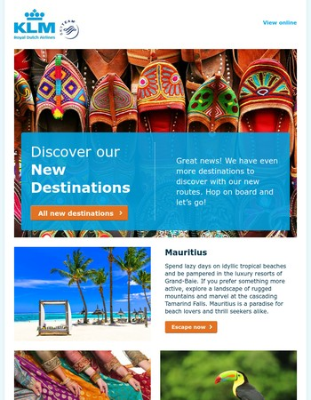 Discover our new destinations