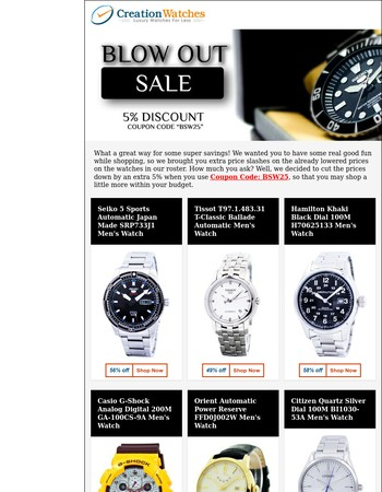 Blowout Sale: 5% additional discount on 50+ Watches!