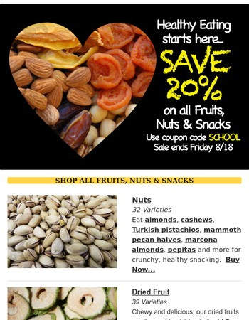 Dried fruit, nuts & snacks for lunch boxes-Save 20%!
