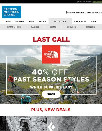 LAST CALL 40% OFF The North Face Past Season Deals