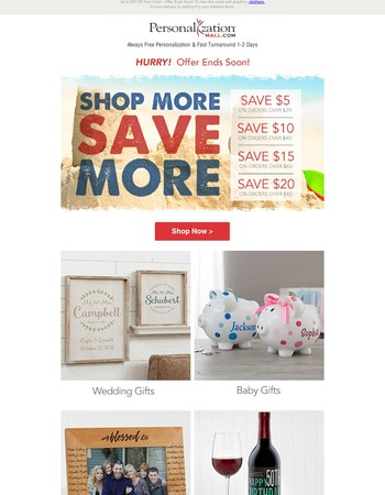 Shop More, Save More - Up To $20 Off Personalized Gifts