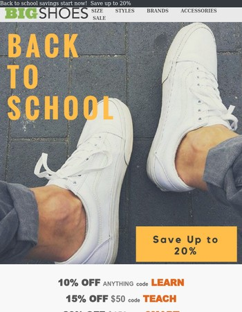 Back to School Cool -  Save up to 20%