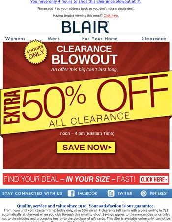 4 hours. Extra 50% off all clearance.
