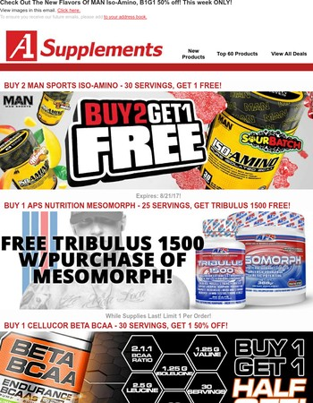 Check Out The New Flavors Of MAN Iso-Amino, B1G1 50% off! This week ONLY!