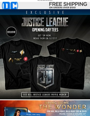 Exclusive Justice League opening day tees!