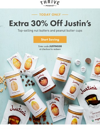 Today only: Extra 30% off Justin's