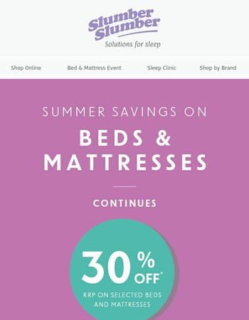 Up To 30% Off Beds and Mattresses