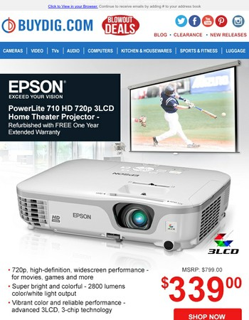 Epson Blowout! PowerLite Home Theater Projector only $339 + Fast Free Shipping!