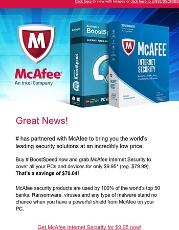 Only today: McAfee Internet Security for under $10