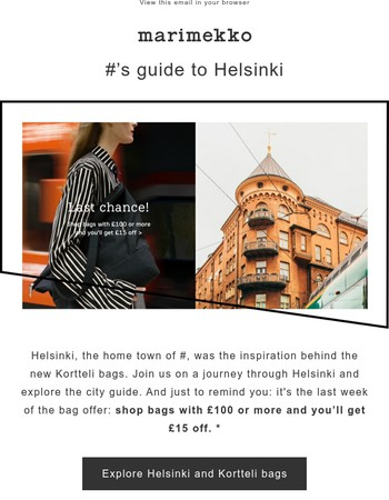 Discover Helsinki with Marimekko   Last chance to use the bag offer