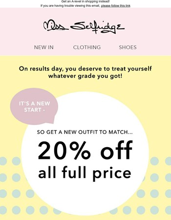 20% off today only - whatever your result...