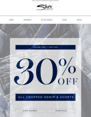Final Day: 30% Off Cropped Denim & Shorts