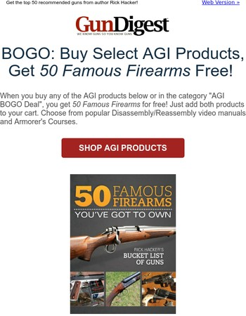 Buy an AGI Product, get 50 Famous Firearms for free!