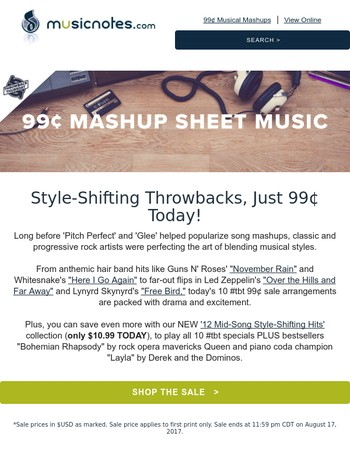 Style-Shifting Hit Sheet Music, 99¢ Today!