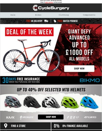 Up to £1000 Off All Giant Defy Advanced Models!