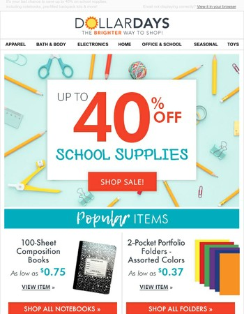ENDS SOON: School supplies sale - save up to 40%!