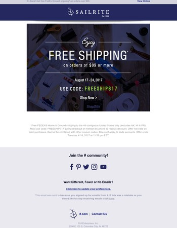 Get Free Shipping Today!