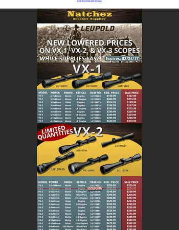 New Lowered Prices On VX Scopes