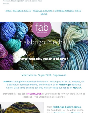 Mecha, Mechita, Rastita, Rasta - New Stock & Colors in our favorite yarns!
