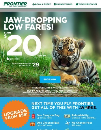 Lions, and tigers, and low fares, Oh my! Fly from $20!