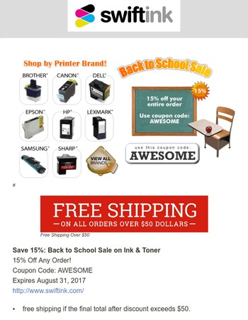 Back to School -- 15% Off Ink & Toner with Coupon Code: AWESOME