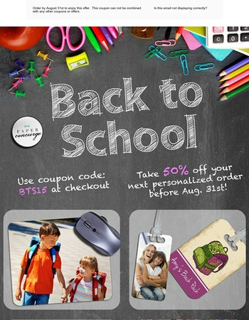 Last chance to customize your Back To School Swag for Half Off!