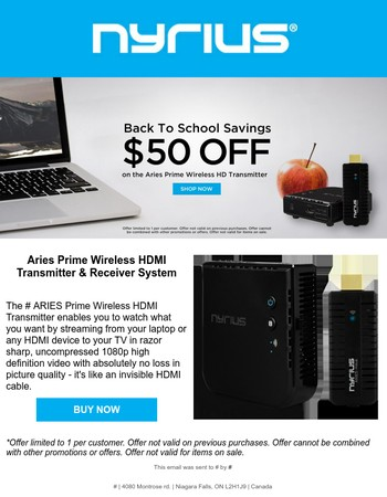 Don't miss out on this Back to School Savings: $50 Off on the Aries Prime Wireless HD Transmitter