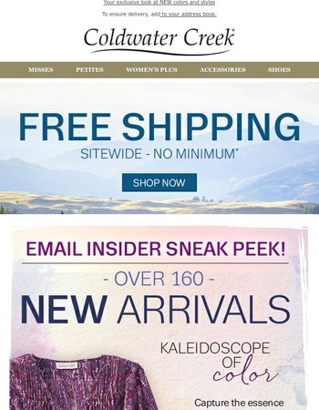 A NEW season brings over 160 NEW ARRIVALS + Free Shipping
