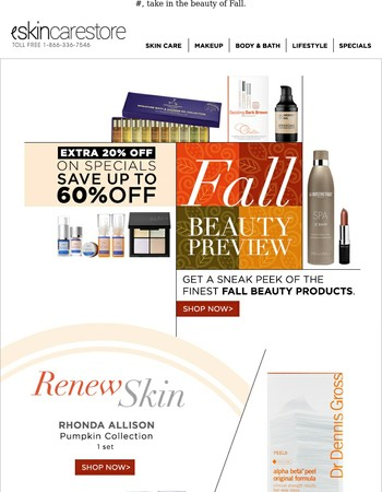 Fall is Coming. Get Extra 20% OFF on Specials!
