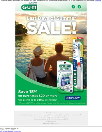 Summer's Ending, But Our Sale Goes On - Save 15% off Your Favorite GUM Products!