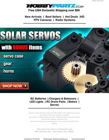 *BONUS* Solar Servos Now Comes with Extra Servo Case, Gear & Horns