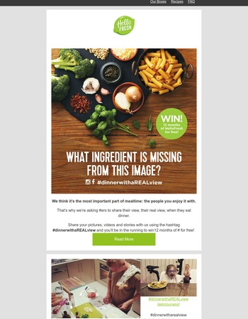 Don't miss out on a year's supply of HelloFresh!