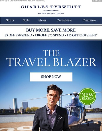 Discover the lightweight luxury of our Travel Blazer